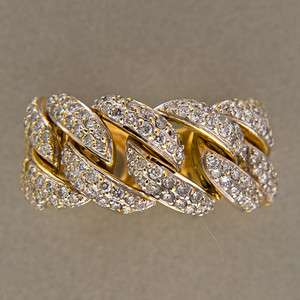 DESIGNER SONIA B 18K YELLOW GOLD 1.60CT PAVE DIAMOND FLEXIBLE CHAIN