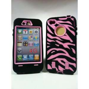 Armored Core Zebra Black/Pink Print Case for Iphone 4/4S