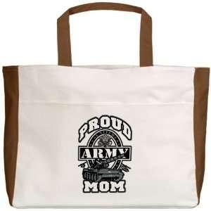 Beach Tote Mocha Proud Army Mom Tank