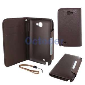 Leather Wallet Case Cover For Samsung Galaxy Note GT N7000 i9220 Brown