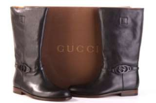 NEW GUCCI MENS BLACK LEATHER GG LOGO DETAIL BOOTS 40/7 W/BOX