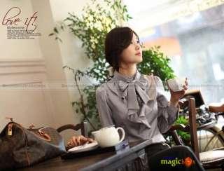 2012 Women Long Sleeve Stand Collar Ruffle Bowknot Shirt Blouse Top