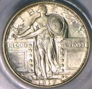 1917 Type 1 Standing Liberty Quarter PCGS MS 62FH Nice White Coin