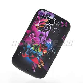 FLOWER SOFT GEL TPU SILICONE CASE COVER + SCREEN FOR HTC WILDFIRE G8