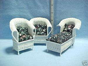 Wicker Chaise & 2 Chairs Artisan Made Dollhouse Mini