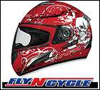 AFX FX90 SKULL MOTORCYCLE HELMET RED M SMOKE SHIELD