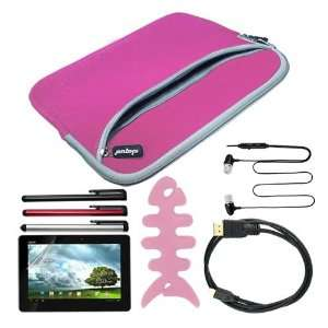 Pink Laptop Carrying Case + 6 Feet Micro HDMI Cable + Pink Fishbone