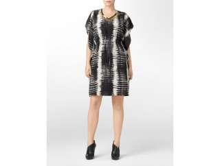 calvin klein woman abstract print v neck flutter sleeve dress