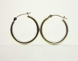 Classic Pure 100% 14K White Gold Hoop Earrings   20x2mm