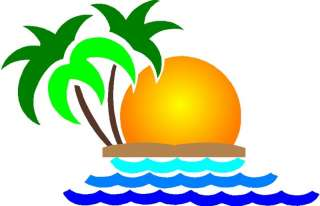 Tropical Beach Sunset cornhole game decal set