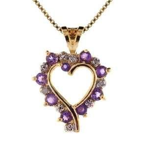 Genuine Amethyst Diamond Open Heart Gold Pendant: Glitzs: Jewelry