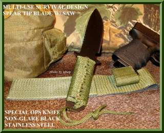 SPECIAL OPS TACTICAL BLACK KNIFE SPEAR TIP SURVIVAL