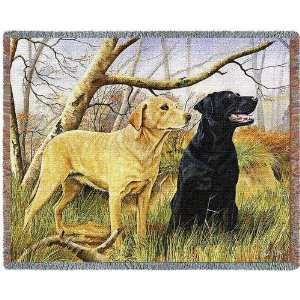 Yellow and Black Lab Retriever Dog Tapestry Throw or Wall