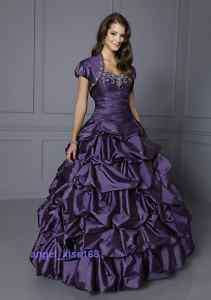 Purple Evening Dress with Jacket/Prom Gown/Plus Size
