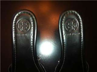 TORY BURCH Black Patent Patti Wedge Sandals Shoes Size 7.5 7 1/2