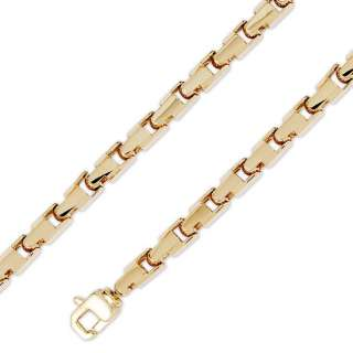 14K Yellow Gold HipHop Bullet Chain Necklace 6.5mm 26