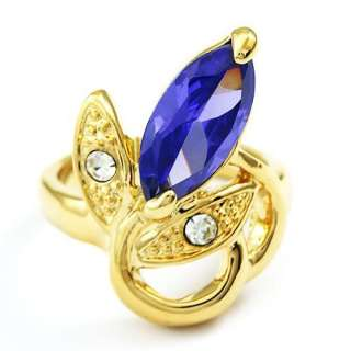 hr072 Wedding 18k gold Plated Sapphire Crystal Luxury Ring Free