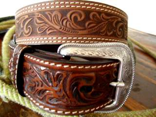 WESTERN BROWN HAND TOOLED LEATHER BELT & BUCKLE