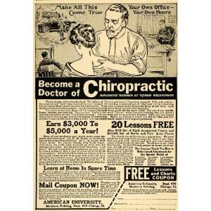 1917 Ad Chiropractic Lesson Anatomy Spine Doctor Health