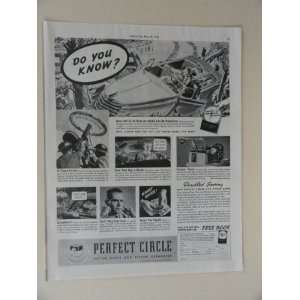 Perfect Circle Piston Rings. Vintage 30s full page print ad. (car