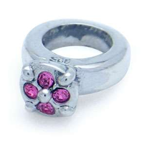 jewelry has 925 trademark rose pink crystal ring charms bead bf0065679