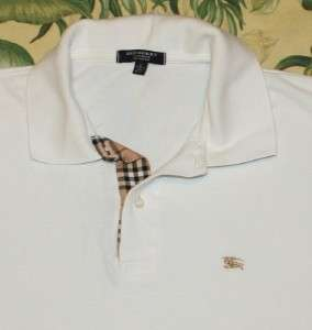 Mens White BURBERRY LONDON Polo Shirt Large L