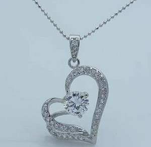 New Womens Crystal Heart Shaped Pendant Necklace#8