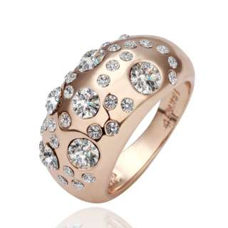 R43 18K rose Gold plated white gem Swarovski crystal Ring size 8