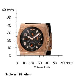 Invicta Mens 41698 004 18k Rose Gold Plated Black Rubber 3 Eye Watch