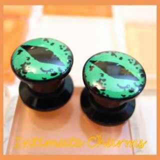 6mm 2g Green Cat Eyes Screw Flesh Tunnel Ear Plugs 680