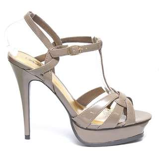 Taupe Tan T Strap Platform High Heel Sandals Size 10