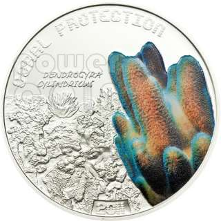 PILLAR CORAL Protection Reef Silver Coin 1$ Tuvalu 2011