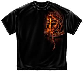 Firefigher Dragon T Shirt Fear no Evil satan fireman red fire extreme