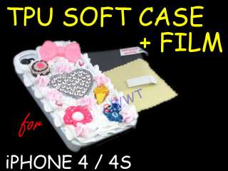 3D Cute Heart Cream Cake Back Cover Hard Case +Film for iPhone 4 S 4G
