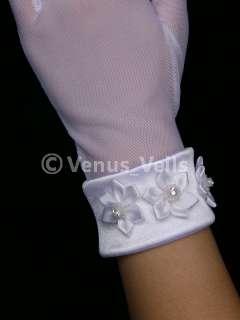 Ivory Bridal Wedding Party Prom Rhinestone Wrist Gloves