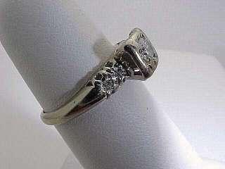Estate 14k White Gold Diamond Engagement Ring size 5