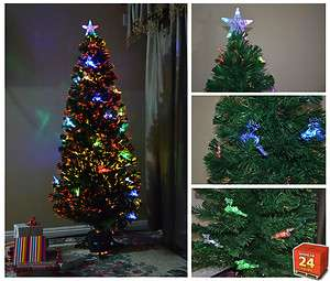 Lit Christmas Tree with Star and Deers Fiber Optic WH 7001 5