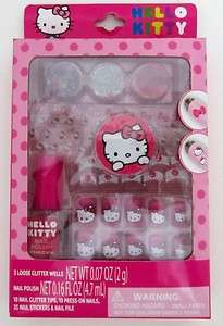 KITTY NAIL ART KIT NAIL POLISH GITTER TIPS PRESS ON NAILS STICKER FILE
