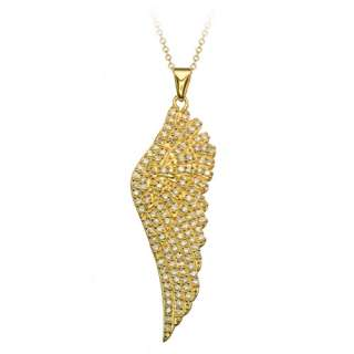 14K Gold over Silver CZ Angel Wing Pendant 18 Necklace