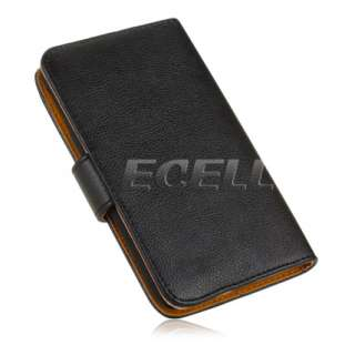BLACK LEATHER CASE COVER 4 CREDIT CARD SLOTS FOR SAMSUNG GALAXY NOTE
