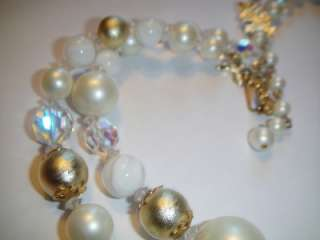 VINTAGE VENDOME White Gold Beads Double Strand NECKLACE