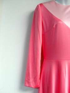 vtg VINTAGE 60s 70s 2 TONE hot pink BABY PINK disco EVENING GOWN dress