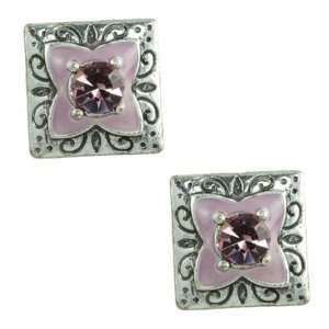 Accent Pink Enamel Flower Antique Finish Square Stud Earrings Jewelry