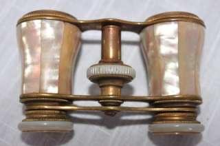 Antique Mother of Pearl Opera Glasses La Corona Paris w/Case OLD NICE