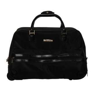Anne Klein Black Downtown Black Rolling Bowler Carry on Duffel Bag