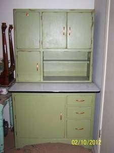 vtg hoosier cabinet flour bin sifter rack green black white table top