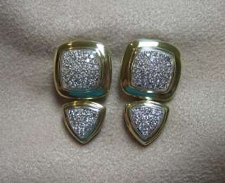 Sterling Silver & 18K Yellow Gold Pave Diamond Albion Earrings