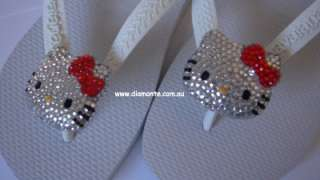 White Havaianas Thongs Featuring Swarovski Hello Kitty Crystals HK5