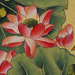 Lotus Flower Wall Art Scroll Painting (China)