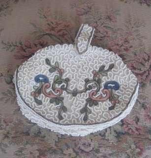 ANTIQUE/Vintage FLORAL Ivory BEADED/EMBROIDERED Evening Bag/DANCE